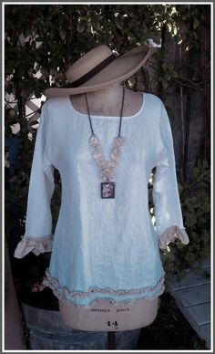 Linen Silk Tunic Top Shirt