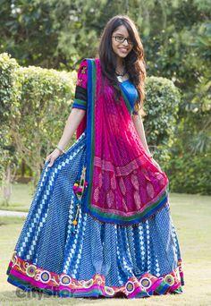 Pink Blue Lehenga - Top Collection at LooksGud. Choli Designs, Lehenga Designs, Blouse Designs, Garba Dress, Navratri Dress, Navratri Garba, Indian Skirt, Indian Dresses, Indian Outfits