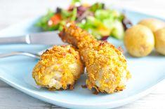 Kyllingelår med cornflakes og salat | Mambeno.dk