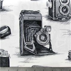 Black & White Antique Cameras Fabric   Shop Hobby Lobby~ Bought my first fabric today! Dresses!!!! Yay!