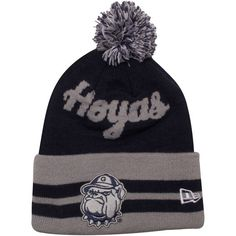 Georgetown Hoyas hat | New Era Georgetown Hoyas Intarsia Pom Knit Hat - Gray/Navy Blue ...