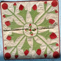 WONDERFUL APPLIQUÉ DOLL QUILT, GUARANTEED 1870's.