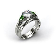 Platinum 3-Stone Pear Emerald Engagement Ring