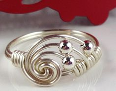 White Pearl Ring Wire Wrapped Jewelry Handmade by theWRAPstar