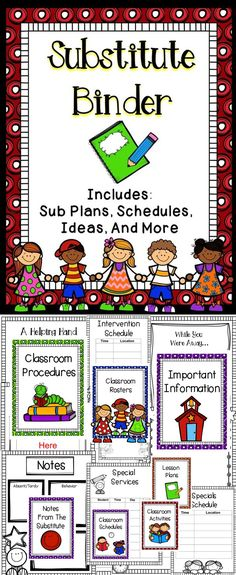 Substitute Binder - This substitute binder is a fantastic way to help you prepare for the times when you have to be out of the classroom.  This substitute notebook is editable to meet the needs of your classroom!  #education