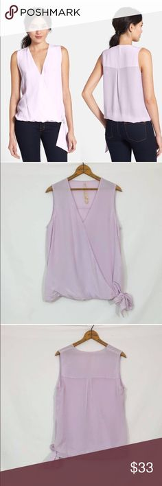 BAILEY 44 $288 'Faye' Side Tie Surplice Silk Top Excellent condition!  Color is a soft lilac.  Content tag has been removed. Slight sheerness;May require appropriate undergarments. A sleek surplice neckline and gently bloused hem frame this airy side-tie tank cut from ultra-luxe silk. 100% silk. Dry clean. By Bailey 44; made in the USA of imported fabric.  🔹Bust 42 🔹length 25 Bailey 44 Tops Blouses