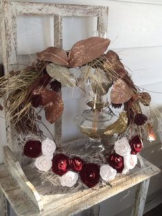 Wreath with fabric flowers for winter