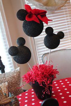 Centerpiece- styrofoam balls, flower pot and wooden dowel rods