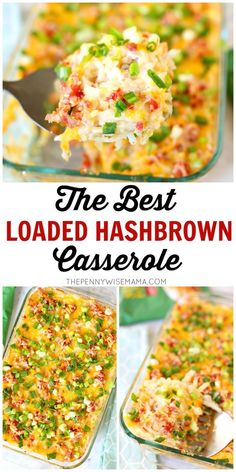 The BEST Loaded Hashbrown Casserole. This crowd favorite is so simple and delici. - The BEST Loaded Hashbrown Casserole. This crowd favorite is so simple and delicious. Perfect for ho - Loaded Baked Potato Casserole, Hashbrown Casserole Recipe, Hash Brown Casserole, Casserole Recipes, Frozen Hashbrown Recipes, Casserole Dishes, Gluten Free Casserole, Cracker Barrel Hashbrown Casserole, Loaded Baked Potatoes