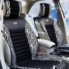 High Quality Classic Zebra Print Silver Car Seat Cover