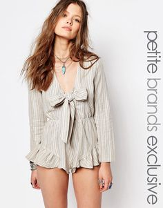 Glamorous+Petite+Striped+Tie+Front+Playsuit