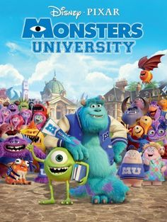 Monsters University (Blu-ray + DVD Combo) on Blu-ray from Disney / Buena Vista. Directed by Dan Scanlon. Staring Sean Hayes, Dave Foley, Helen Mirren and John Goodman. More Comedy, Fantasy and Family DVDs available @ DVD Empire. Disney Pixar, Walt Disney Movies, Disney Monsters, Monsters Inc, Disney Magic, Disney List, Pixar Movies, Comic Movies, Horror Movies