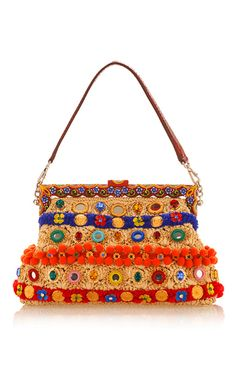 Vanda In Raffia With Mirror Embroidery Shoulder Bag by DOLCE & GABBANA for Preorder on Moda Operandi