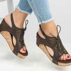 5e1d1ad7af9ca6 Casual Comfortable Wedge Heel Sandal Lace Up Sandals