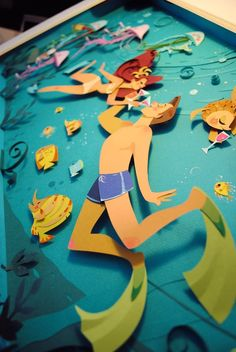 Britney Lee e os quadros 3D feitos de papéis recortados