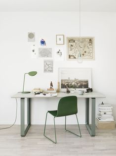 Furniture:Inspiring Home Office Design With White Desk And Green Chair Also  Table Lamp And White Interior Wall Also Laminated Wooden Floor .