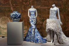 Jar with dragon, Roberto Cavalli evening dress, and Alexander McQueen by Sarah Burton evening dress