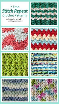 7 free stitch repeat crochet patterns
