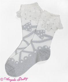 Angelic Pretty: Dot Cream crew socks in silver