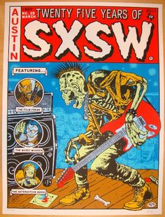 "SXSW - silkscreen concert poster (click image for more detail) Artist: Frank Kozik Venue: SXSW Festival Location: Austin, TX Concert Date: 3/16-20/2011 Size: 18"" x 24"" Edition: 300; signed and numbere"