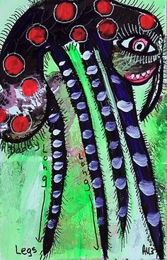 Original LABEDZKI Abstract Painting Outsider Art Daddy Long Legs 5 5x8 5 Inches   eBay
