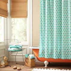 aqua and orange color scheme: Ikat Dot Organic Shower Curtain $49.50
