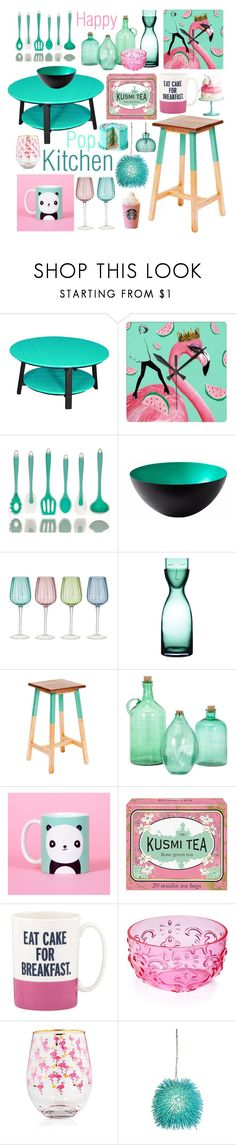 """Happy pop kitchen!"" by beanpod ❤ liked on Polyvore featuring interior, interiors, interior design, home, home decor, interior decorating, DutchCrafters, Normann Copenhagen, Kusmi Tea and Kate Spade"
