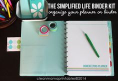 The Simplified Life BINDER Kit  15 pages  by CleanMamaPrintables
