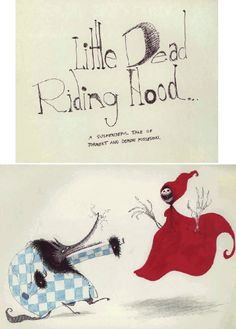 tim burton, art, illustration, mixed media, untitled (little dead riding hood) 1981 (pen and ink on paper)