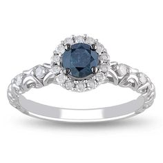 <li>Blue and white diamond engagement ring</li><li>14-karat white gold jewelry</li><li> <a href='http://www.overstock.com/downloads/pdf/2010_RingSizing.pdf'><span class='links'>Click here for ring sizing guide</span></a></li><li>Gift box included</li>