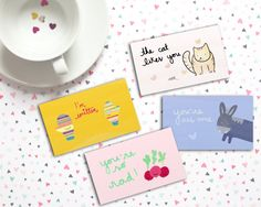 ☀ printable valentine cards ☀  It is one of life greatest pleasures - well ok, one of MY greatest pleasures - to leave little notes to loved ones... or strangers! Make your friends' day brighter by sneaking these cute printable valentine cards in their lunchbox, purse or pocket!  These 10 designs are conveniently business-card sized to fit in small spaces. Re-use these all year long to spread acts of kindness!