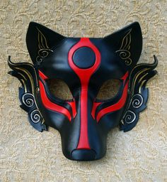 Black Okami leather mask handmade Japanese wolf mask by Merimask, $135.00