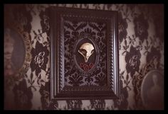 Gothic Victorian Owl Skull Black Velvet Damask by SinisterVanity