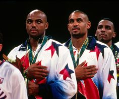 On the 1996 Olympic gold medal stand.