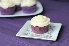 Lavender cupcakes with honey frosting...perfect for TCU tailgating!