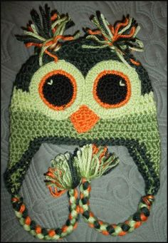Crocheted St. Patrick's Day Owl hat!!