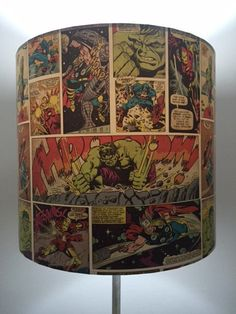 A personal favourite from my Etsy shop https://www.etsy.com/uk/listing/263659720/marvel-comic-lampshade-drum-paper-shade