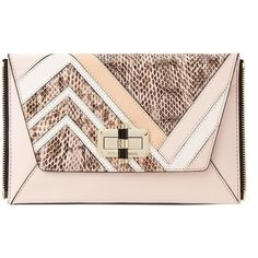 DVF Agent Jordan Patchwork Leather Zip On Clutch ($198) ❤ liked on Polyvore featuring bags, handbags, clutches, blossom, leather zipper tote, genuine leather tote, pink leather tote, vintage leather tote bag and vintage leather handbags