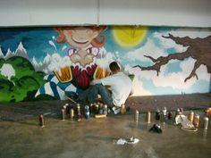 """""""Rotkäppchen vs. Der böse Wolf - Deutsche Romantik trifft Streetart""""    Der böse Wolf: Graffiti Session in der Tiefgarage Museum, Graffiti, Painting, Angry Wolf, Underground Garage, October, Artworks, Painting Art, Paintings"""