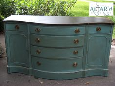 A Duncan Phyfe Style Buffet in pale aqua/distressed/glazed with an espresso top.