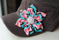 Brown Distressed Military Cadet flower hat. Shabby Chic Flower Hats Chevron $28
