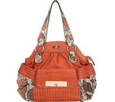 Aryana Adi-13-Org Orange Snake Print Single Strap Zip Closure Womens Handbag #WomenGymBags