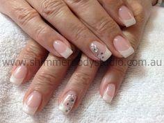 Gel nails, French nails, Crystals nail art.