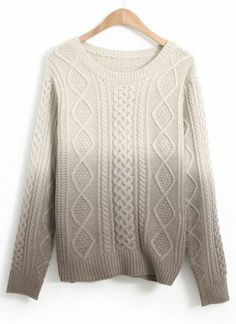 Grey Gradients Long Sleeve Cable Knit Sweater pictures