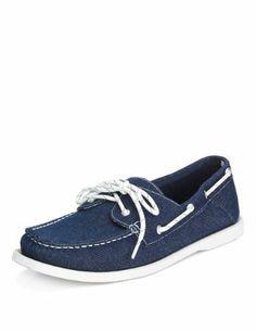 302369fb5 Blue Harbour Lace Up Canvas Deck Shoes - Marks  amp  Spencer Canvas Boat  Shoes