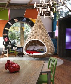 """A nondescript house was renovated to create """"Cabana Urbana"""", a vibrant weekend retreat in São Paulo, Brazil with a 914 sq ft studio pl. Cabana Urbana, Shabby Chic Zimmer, Hanging Beds, Hanging Basket, Hanging Chairs, Diy Hanging, Hanging Furniture, Cane Furniture, Furniture Ideas"""