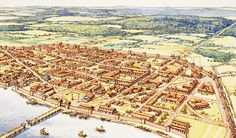 Aerial View of Roman London.  It was the trading capital of roman  England.