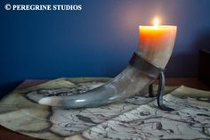 Skyrim-inspired Horn Candle(holder) by PeregrineStudios
