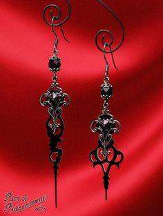 Steampunk gotisch schwarze Uhrzeiger Ohrringe E39 von Art of Adornment auf DaWanda.com