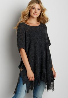 knit poncho with fringe and buttons
